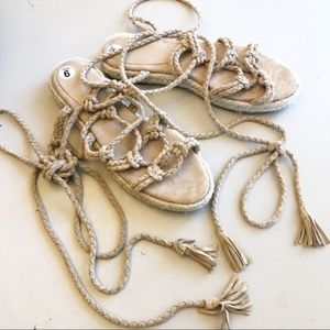 Joie Suede Rope Lace Up Espadrille Sandals NEW